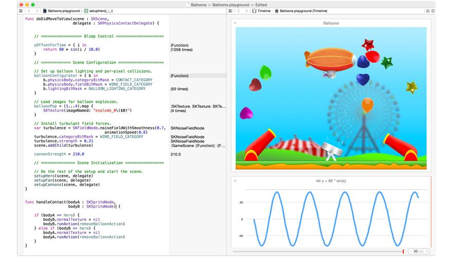 Swift playground, image from Apple ©